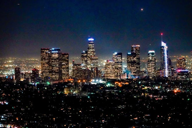 The downtown Los Angeles skyline, photographed from Griffith Park just after sunset.