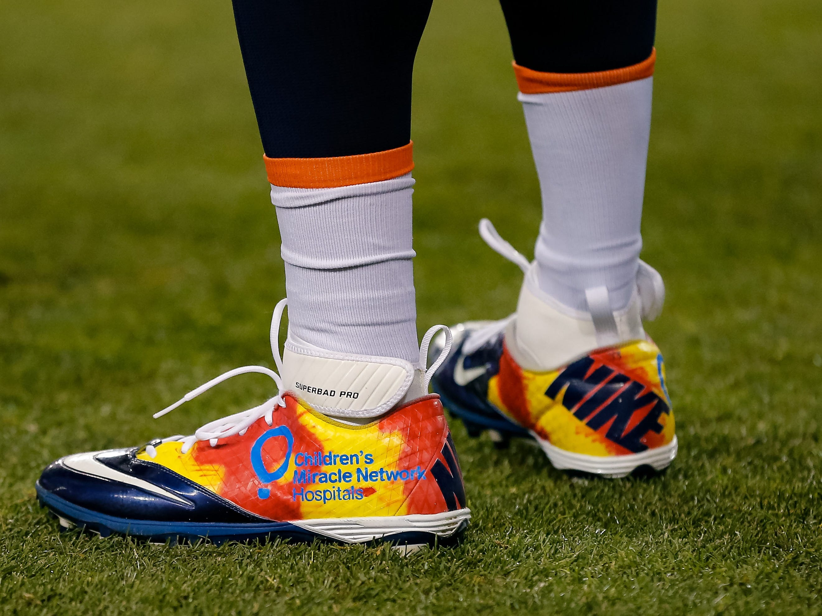 A detailed view of the shoes worn by Denver Broncos linebacker Joe Jones for the game against the Cleveland Browns at Broncos Stadium at Mile High.