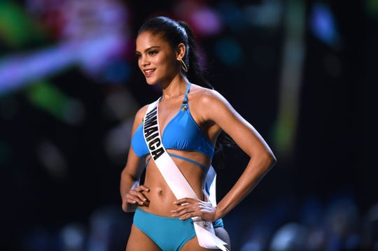 Emily Maddison of Jamaica competes in the swimsuit competition during the 2018 Miss Universe pageant.