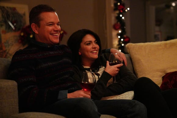 Host Matt Damon and Cecily Strong played parents who reflected on a less-than-stellar crazy Christmas day.