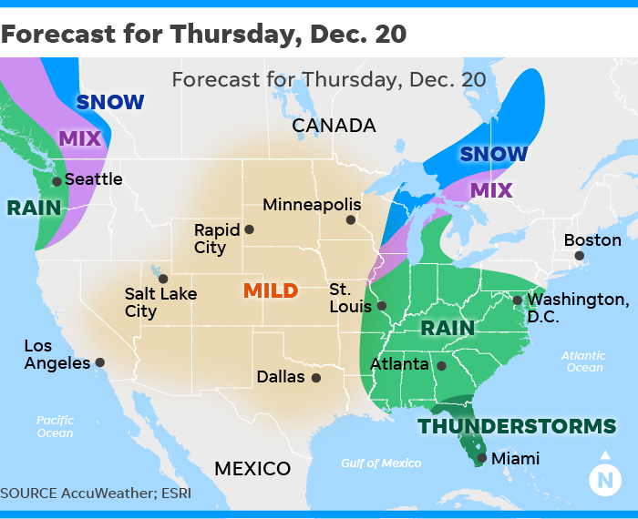 Christmas Travel Weather Forecast Eastern Rainstorm Later This Week