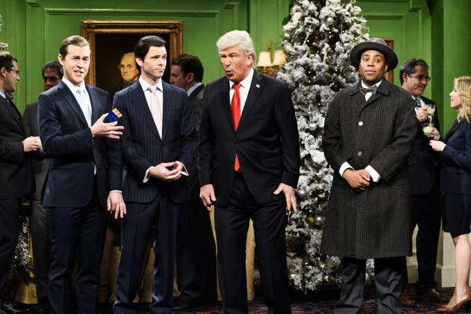 """""""Saturday Night Live"""" kicked off their Christmas episode with Donald Trump in a parody version of the classic """"It's a Wonderful Life."""" The sketch drew the ire of the president, who, in a tweet the day after the show, questioned whether parodies like this could be tested in a court."""