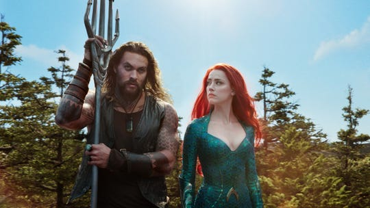 "Arthur (Jason Momoa) and Mera (Amber Heard) get know each other on their quest in ""Aquaman."""