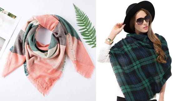 This scarf is cozy and stylish.