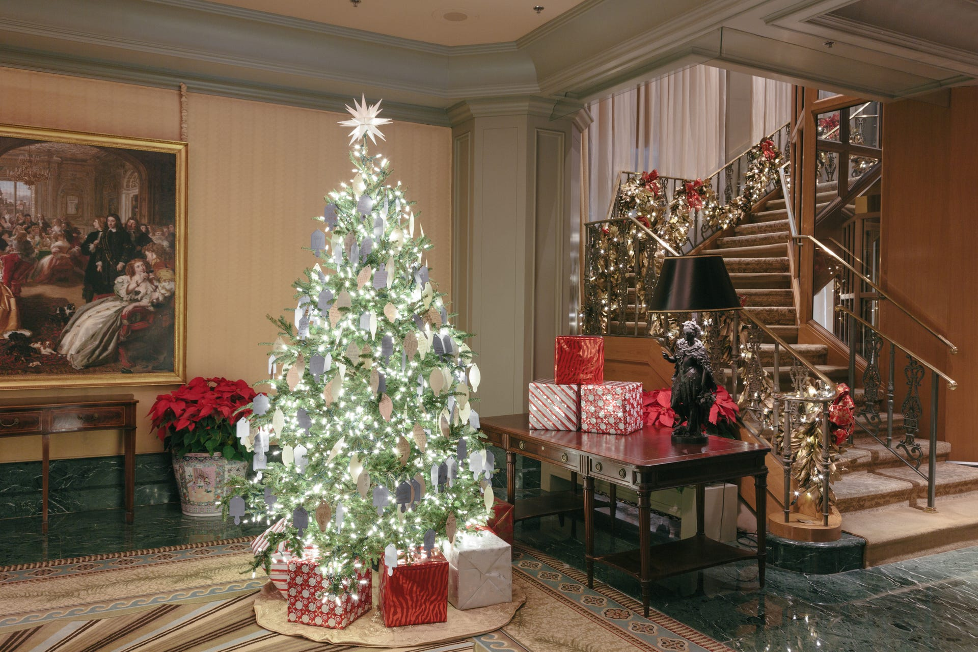 Hotels lobbies are decorated for the holidays