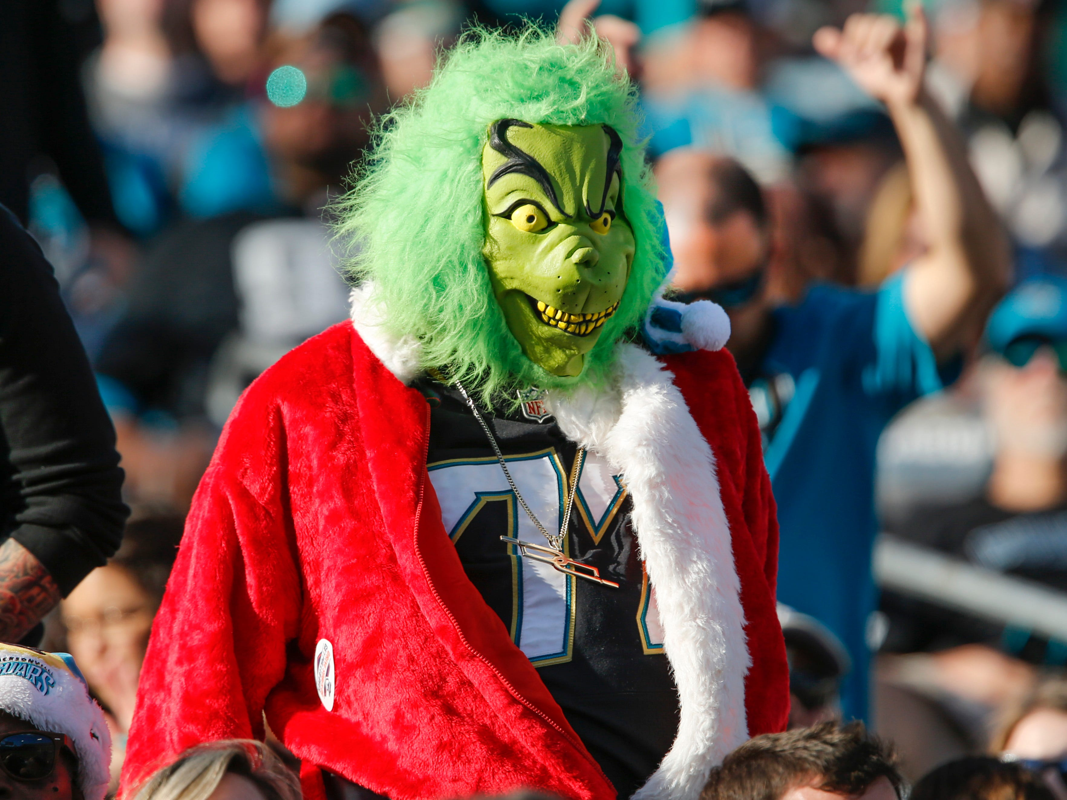 A fan dressed as the Grinch looks on as Jacksonville Jaguars take on the Washington Redskins during the fourth quarter at TIAA Bank Field.
