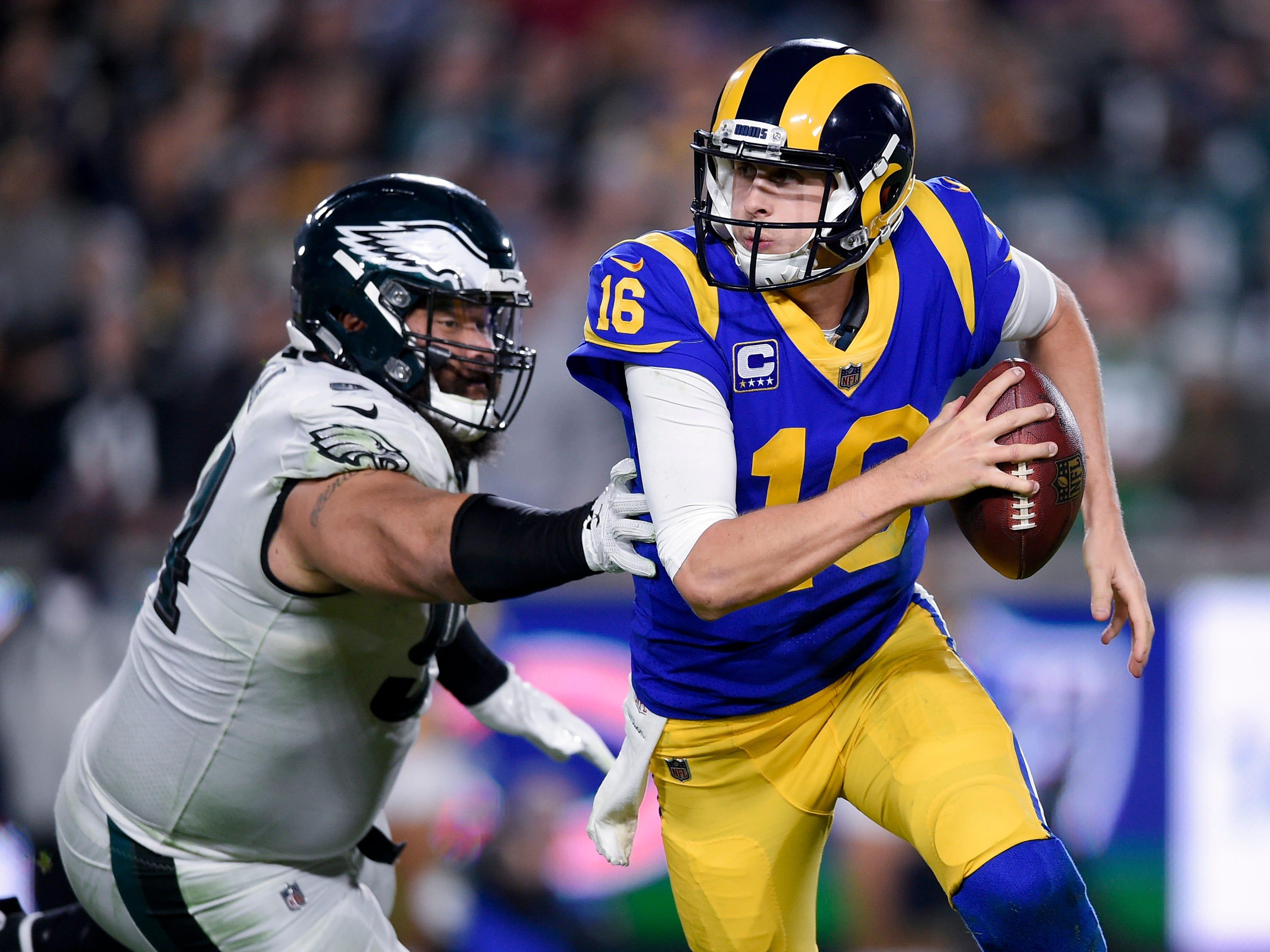 Philadelphia Eagles defensive tackle Haloti Ngata pressures Los Angeles Rams quarterback Jared Goff during the second half at Los Angeles Memorial Coliseum.