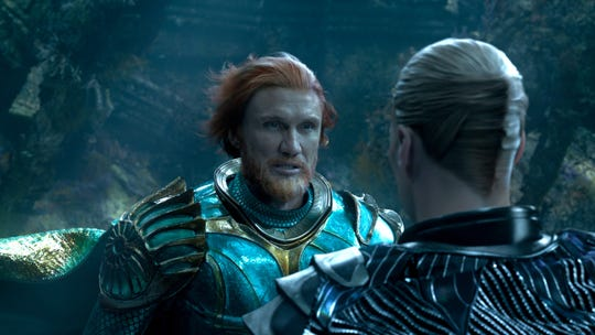 "King Nereus (Dolph Lundgren, left) has an under-the-sea chat with Orm (Patrick Wilson) in ""Aquaman."""