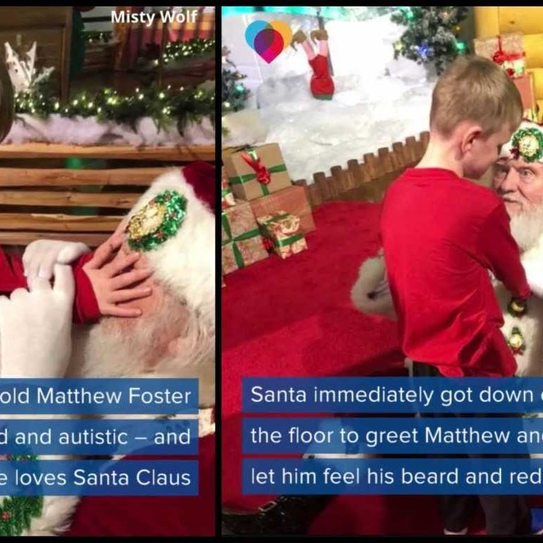 "A blind Matthew Foster, 8, gets to ""see"" Santa for the first time."