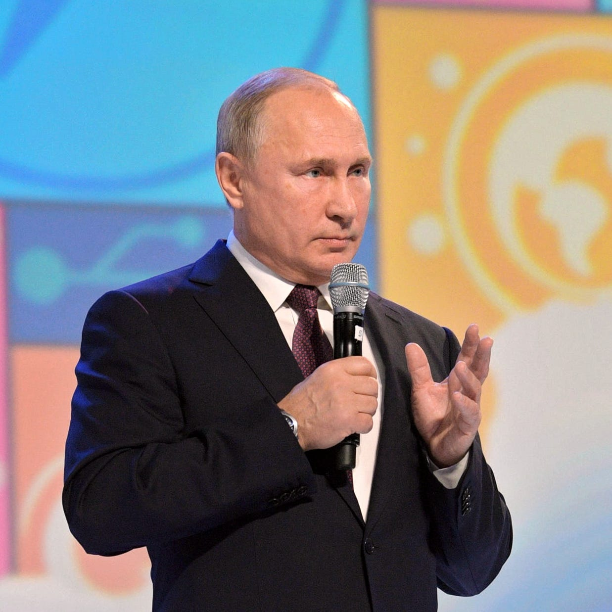 Russian President Vladimir Putin attends the 'Proektoria' All-Russian career guidance and educational forum in Yaroslavl, Russia, Dec. 13, 2018.