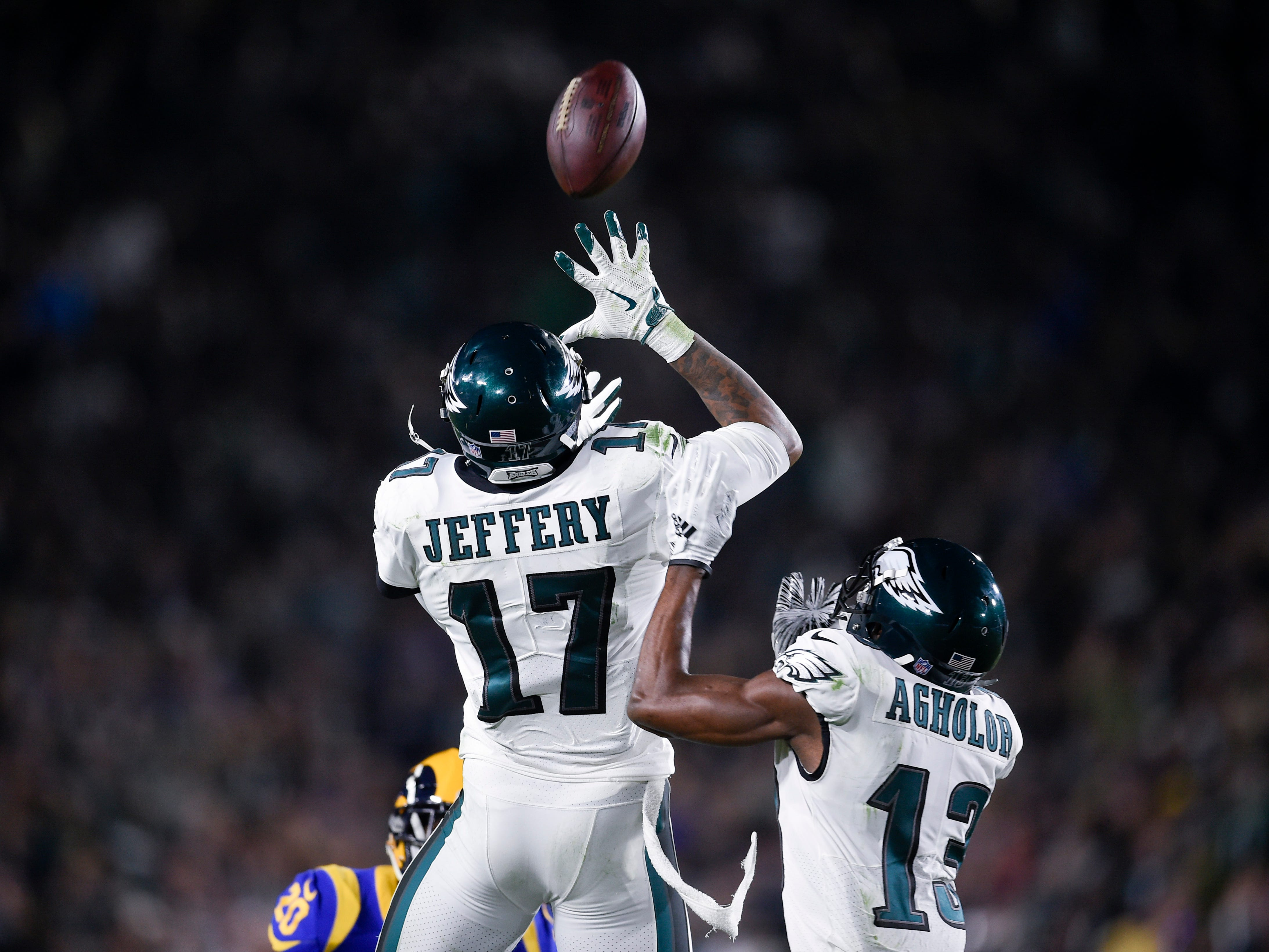 Philadelphia Eagles wide receiver Alshon Jeffery (17) goes up for a pass during the second half against the Los Angeles Rams at Los Angeles Memorial Coliseum.