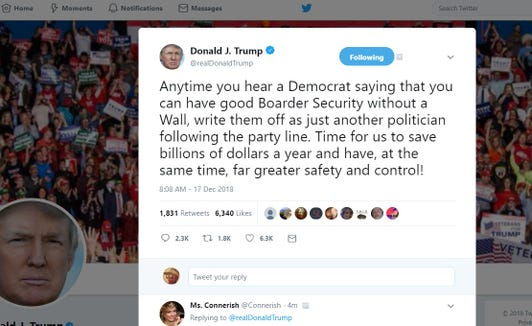 """A screenshot of a tweet from President Donald Trump on Dec. 17, 2018, in which he wrote """"boarder"""" when he meant to say """"border."""""""