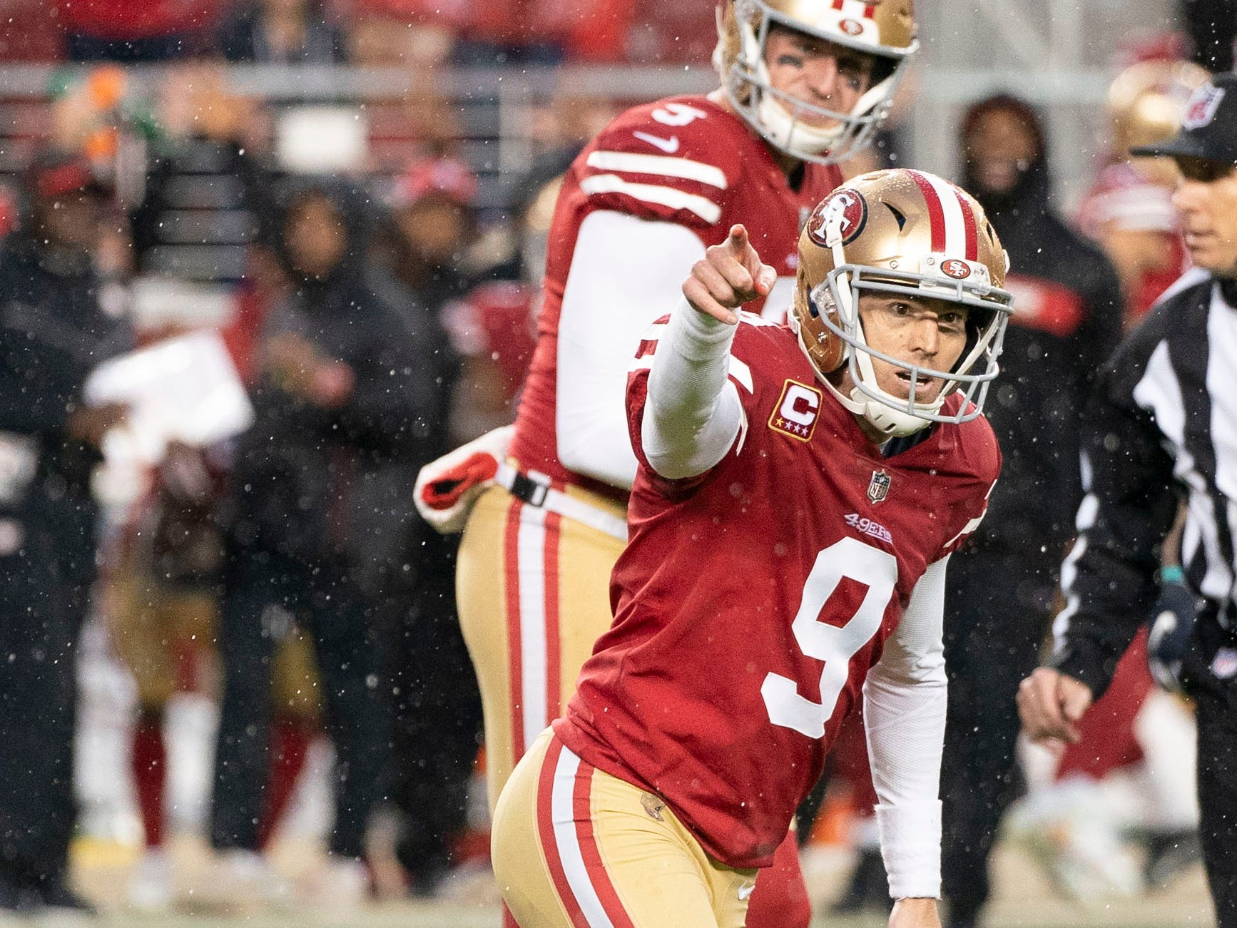 San Francisco 49ers kicker Robbie Gould celebrates after kicking the game-winning field goal during overtime against the Seattle Seahawks at Levi's Stadium.
