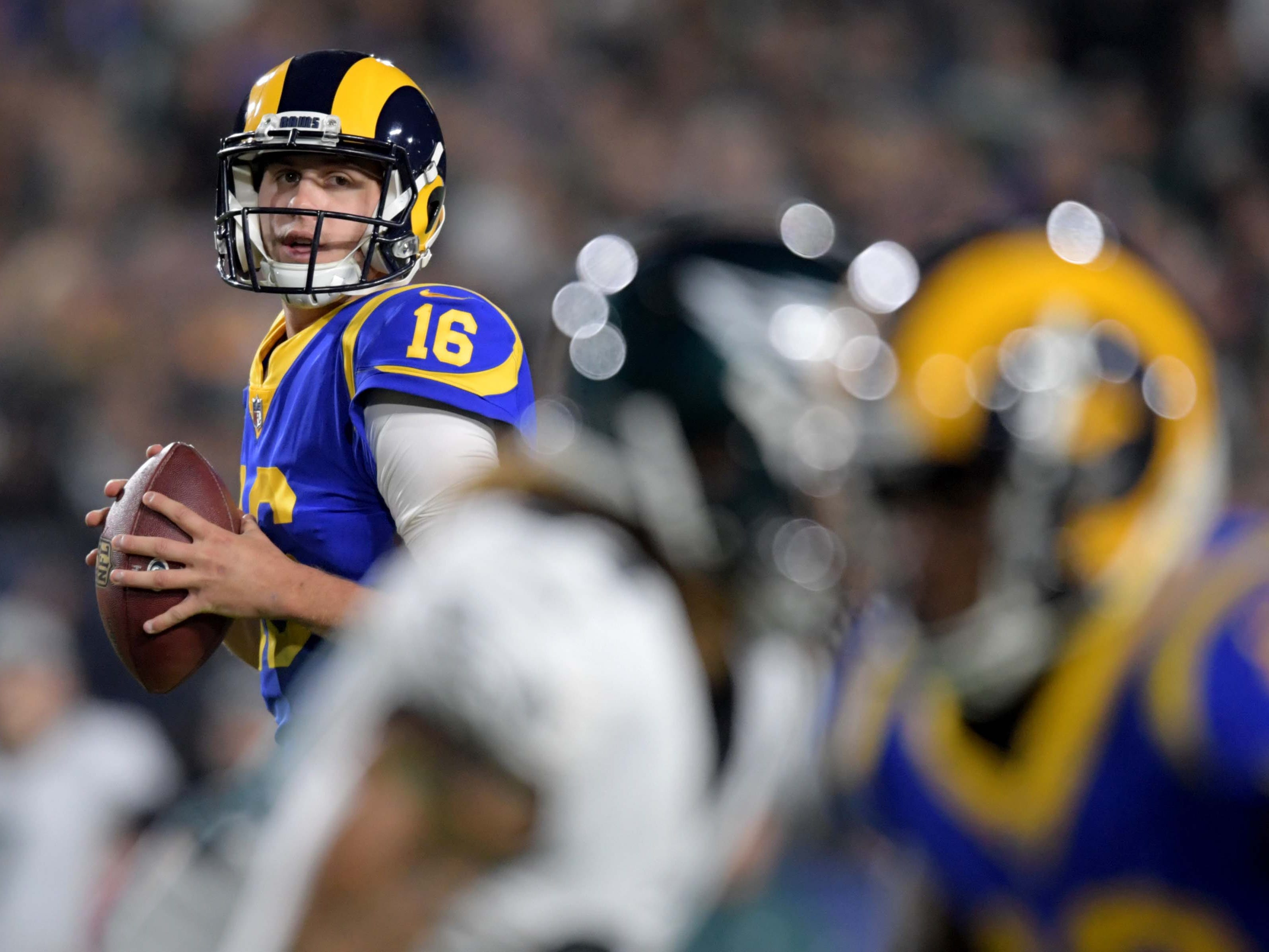 Los Angeles Rams quarterback Jared Goff throws a pass against the Philadelphia Eagles during the first half at Los Angeles Memorial Coliseum.