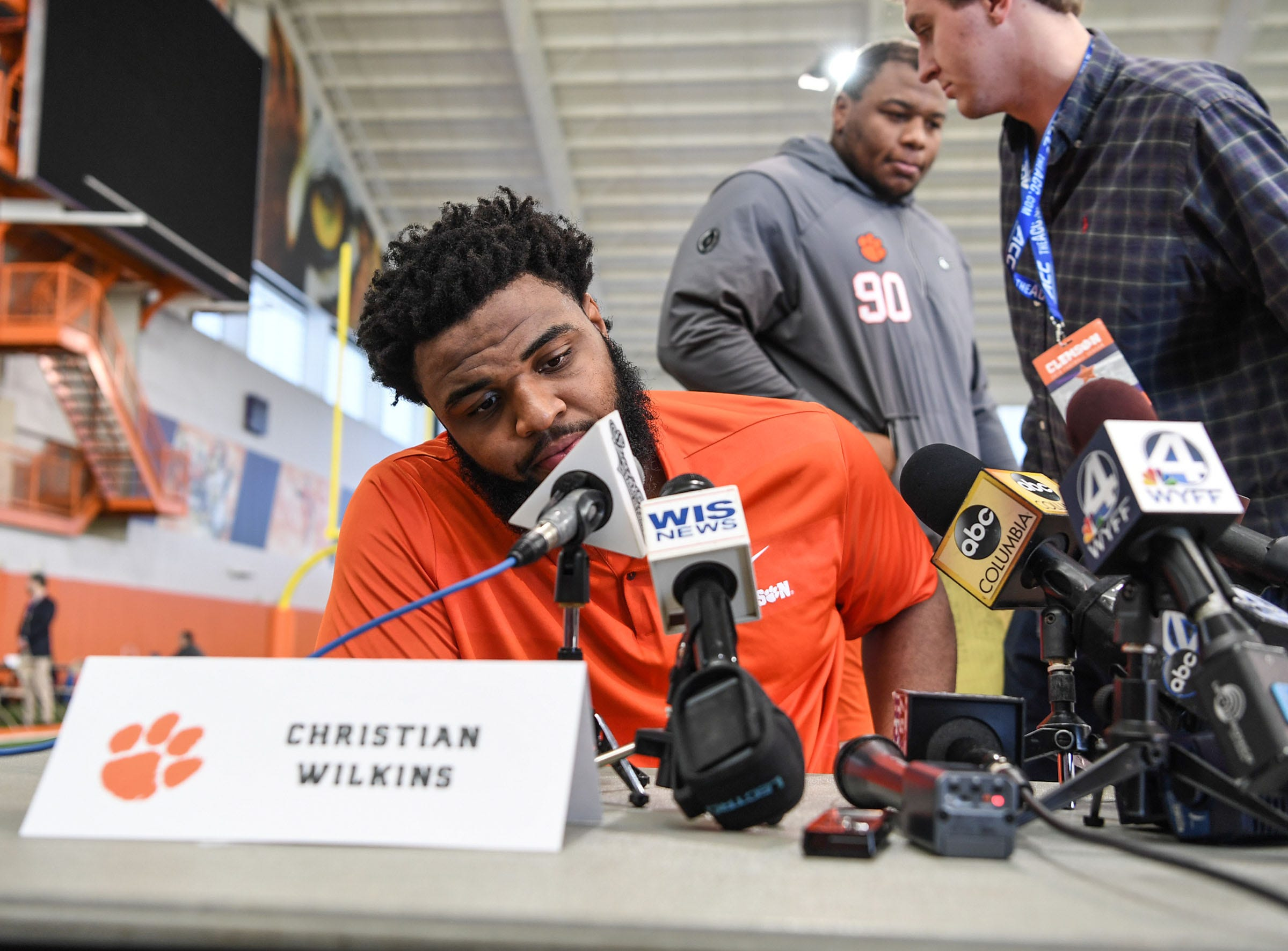 Clemson defensive lineman Christian Wilkins waits for interviews to begin during Media Day at the Poe Indoor Facility in Clemson on Tuesday.