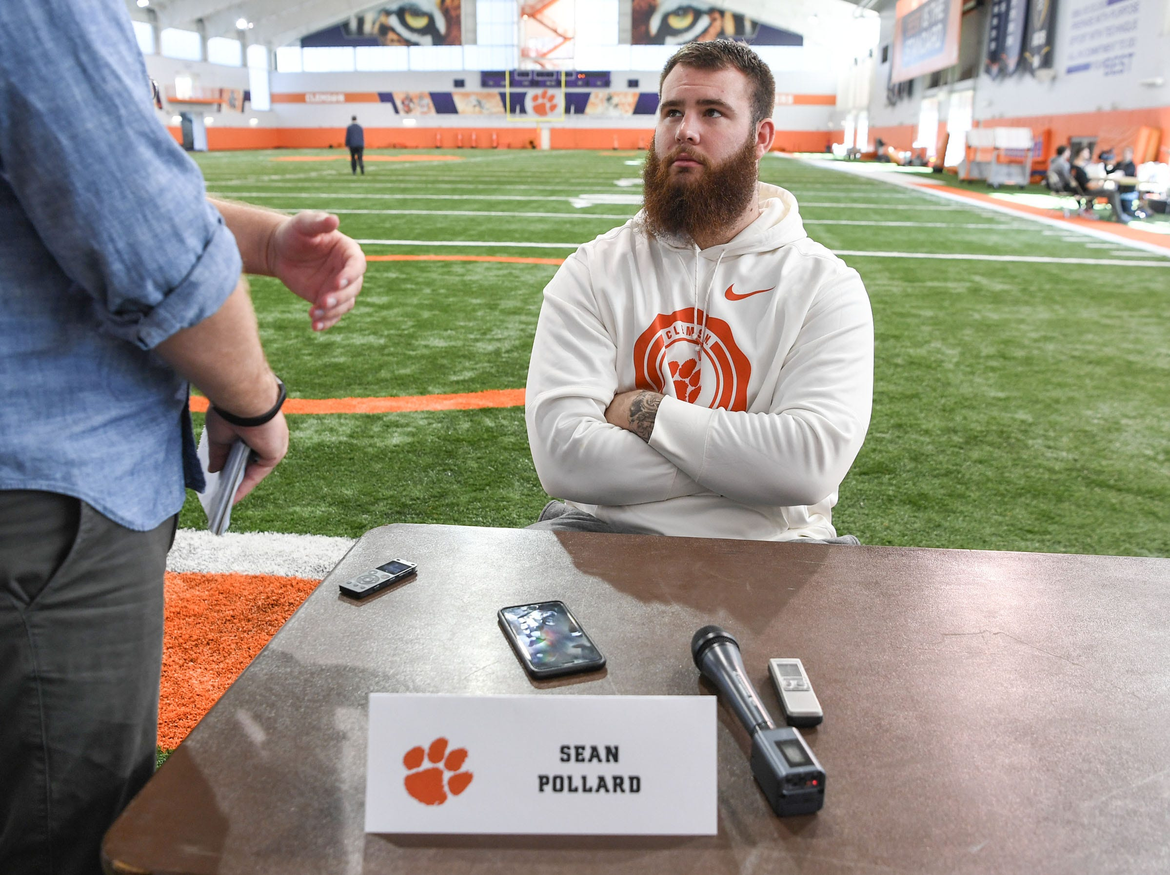Clemson offensive lineman Sean Pollard is interviewed during Media Day at the Poe Indoor Facility in Clemson on Tuesday.