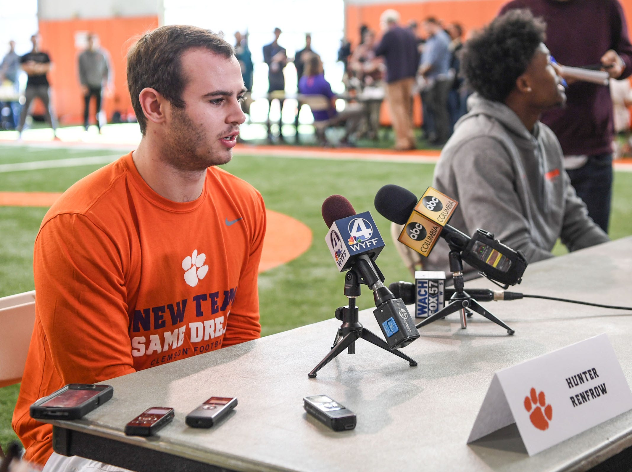 Clemson wide receiver Hunter Renfrow is interviewed during Media Day at the Poe Indoor Facility in Clemson on Tuesday.