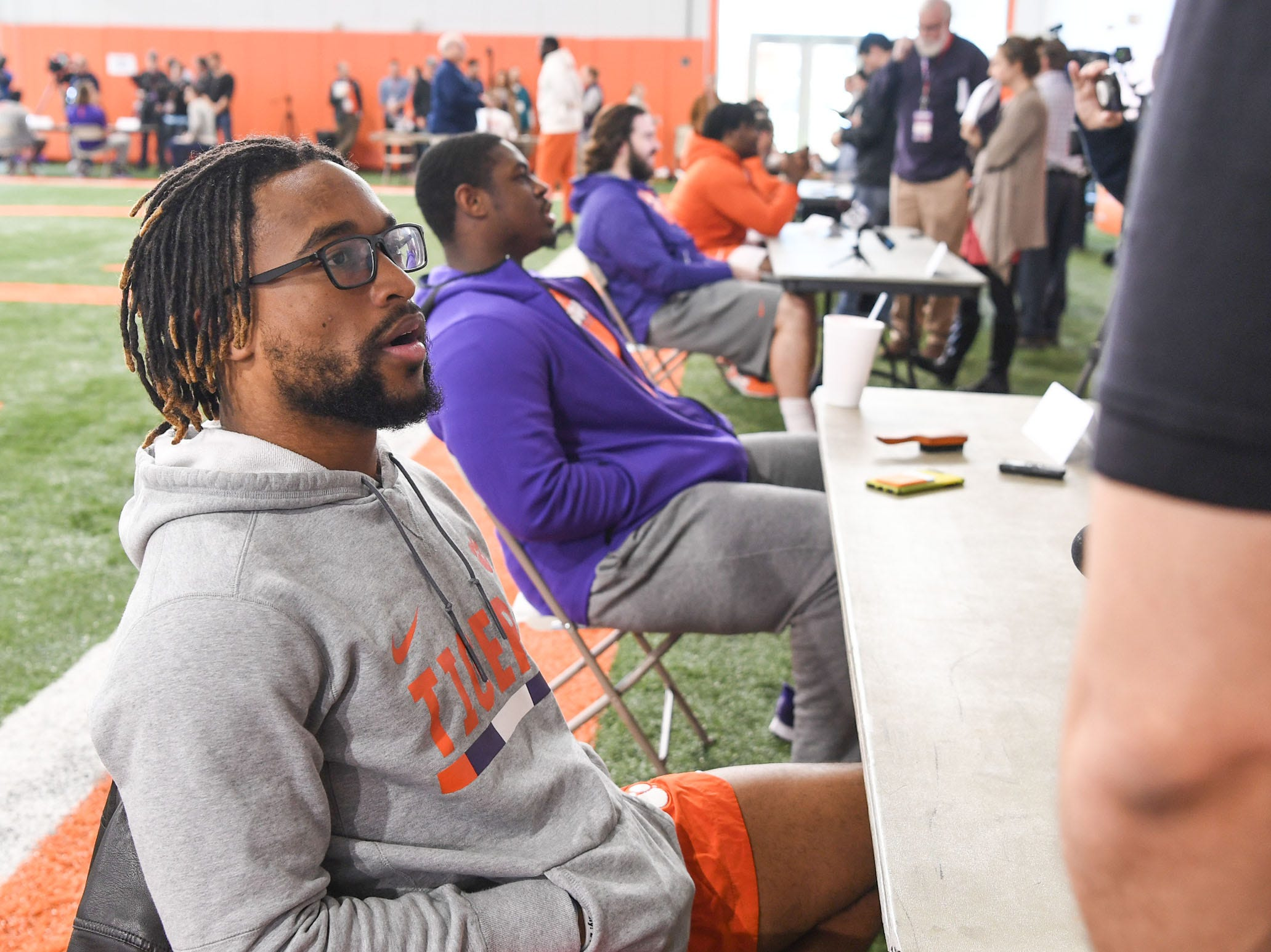 Clemson wide receiver Amari Rodgers is interviewed during Media Day at the Poe Indoor Facility in Clemson on Tuesday.