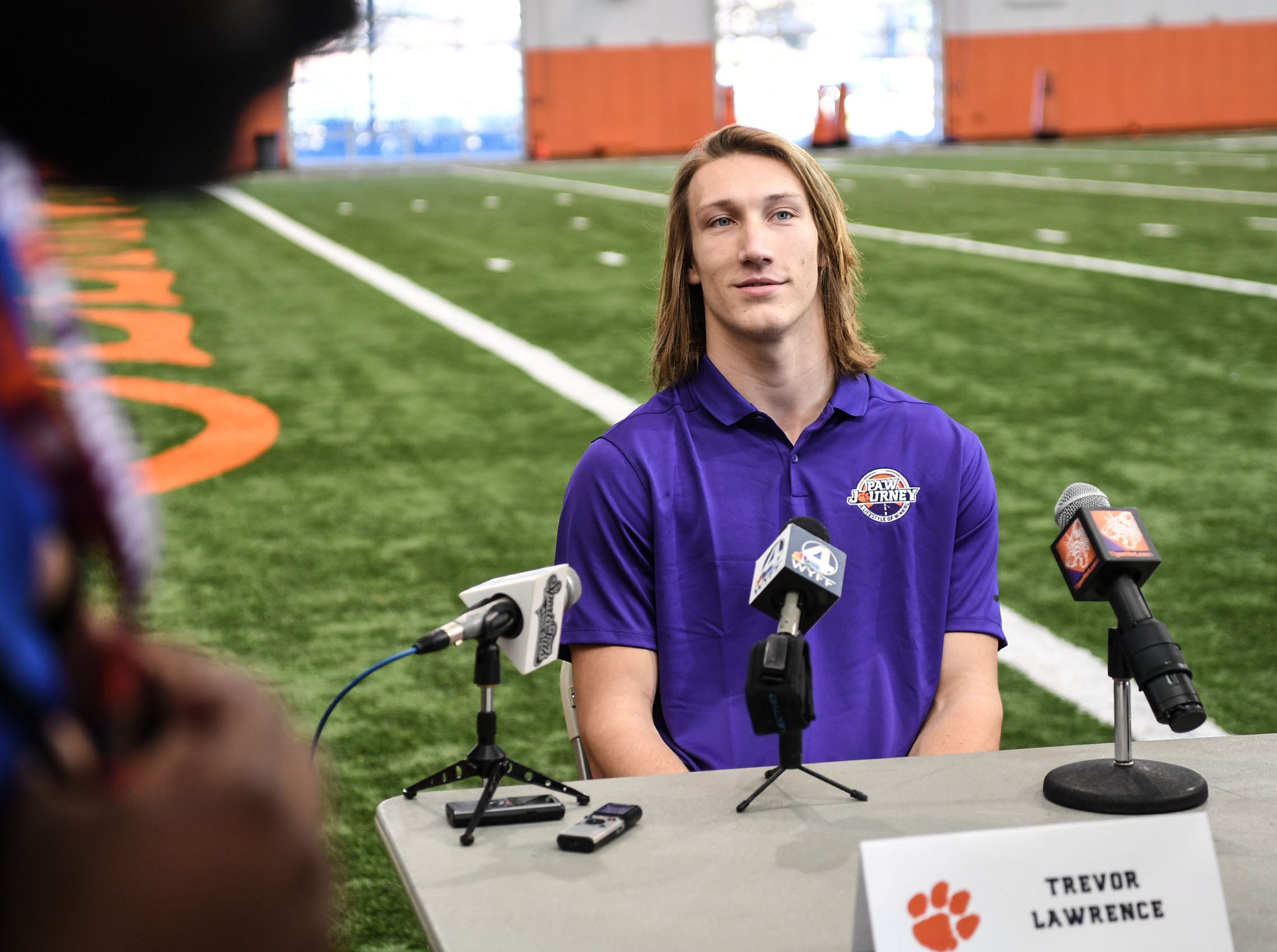 Clemson quarterback Trevor Lawrence is interviewed during Media Day at the Poe Indoor Facility in Clemson on Tuesday.