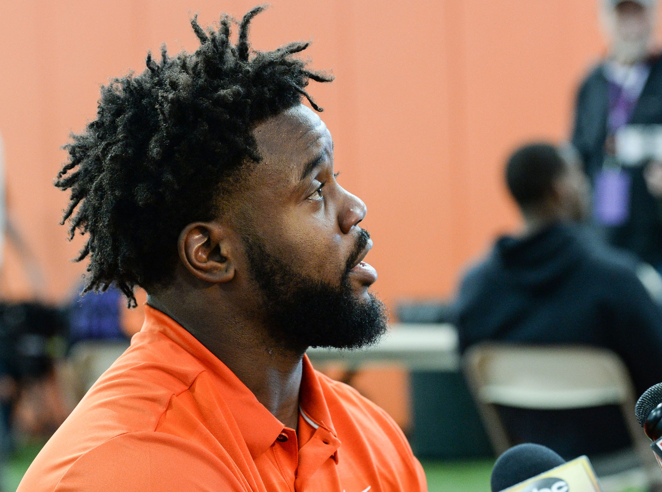 Clemson linebacker Kendall Joseph is interviewed during Media Day at the Poe Indoor Facility in Clemson on Tuesday.