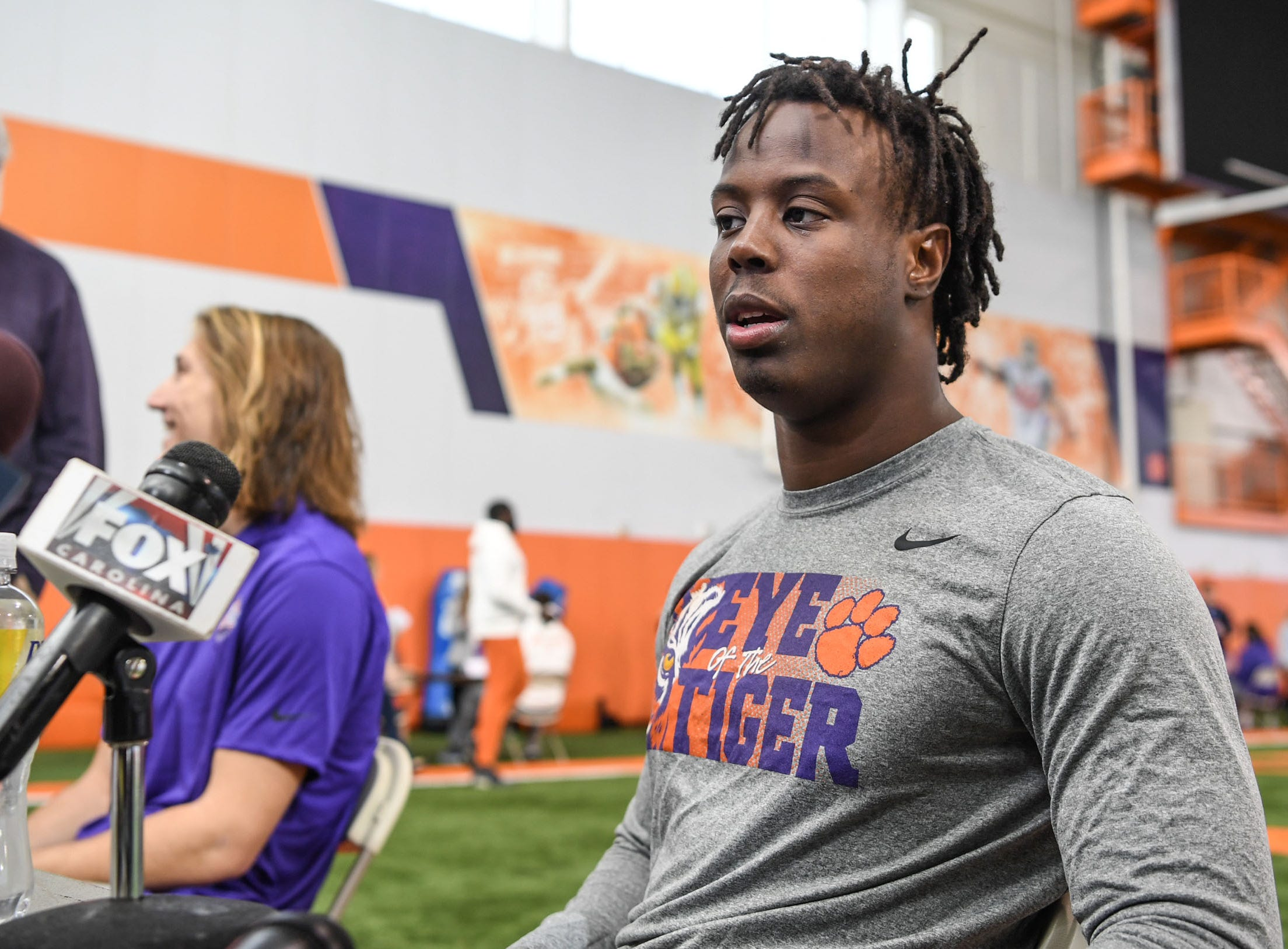 Clemson running back Travis Etienne is interviewed during Media Day at the Poe Indoor Facility in Clemson on Tuesday.