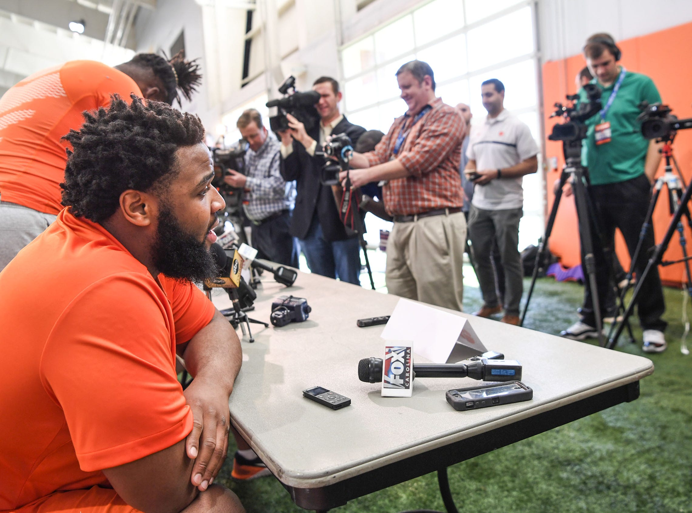 Clemson defensive lineman Christian Wilkins is interviewed during Media Day at the Poe Indoor Facility in Clemson on Tuesday.