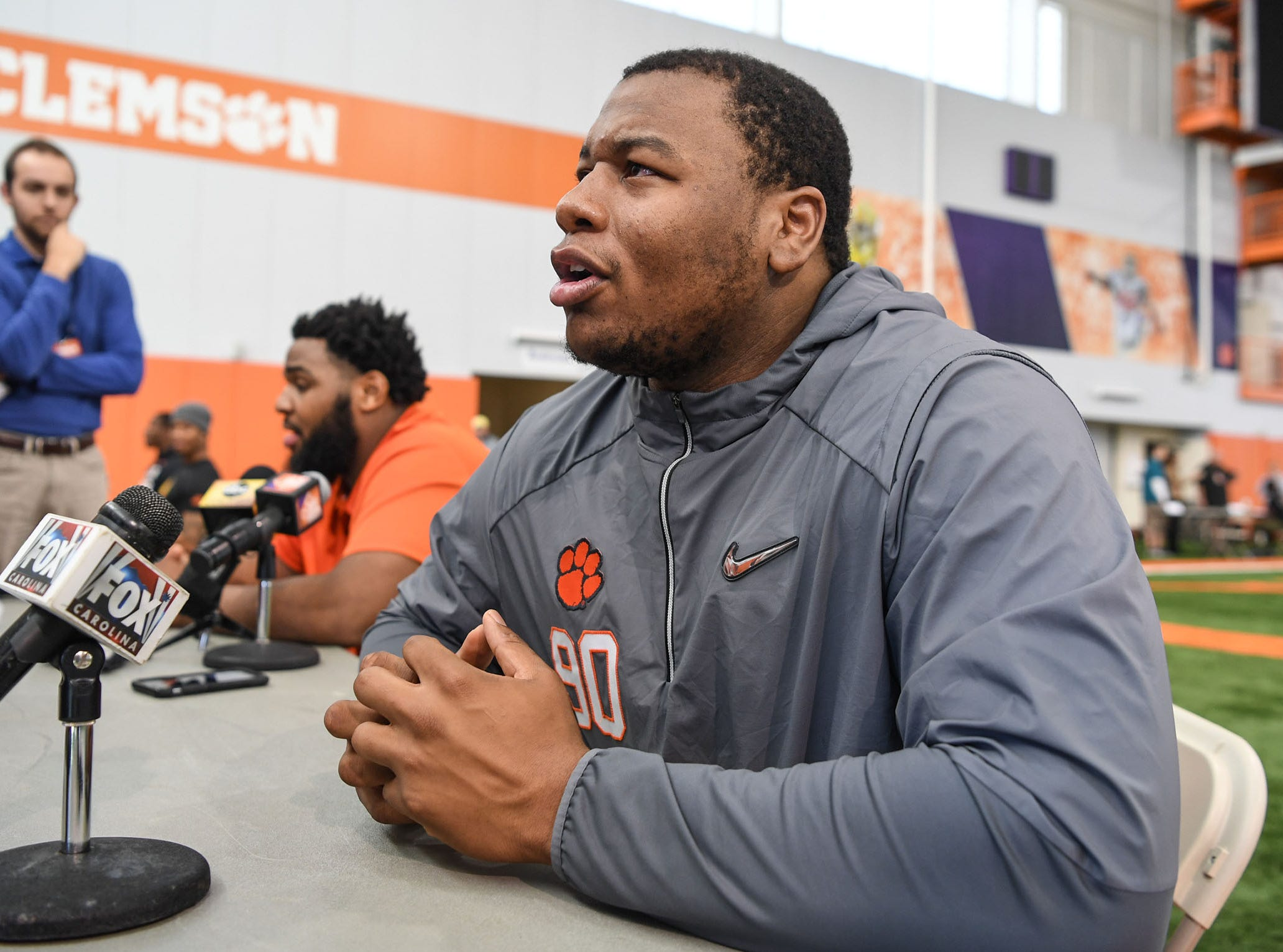Clemson defensive lineman Dexter Lawrence is interviewed during Media Day at the Poe Indoor Facility in Clemson on Tuesday.
