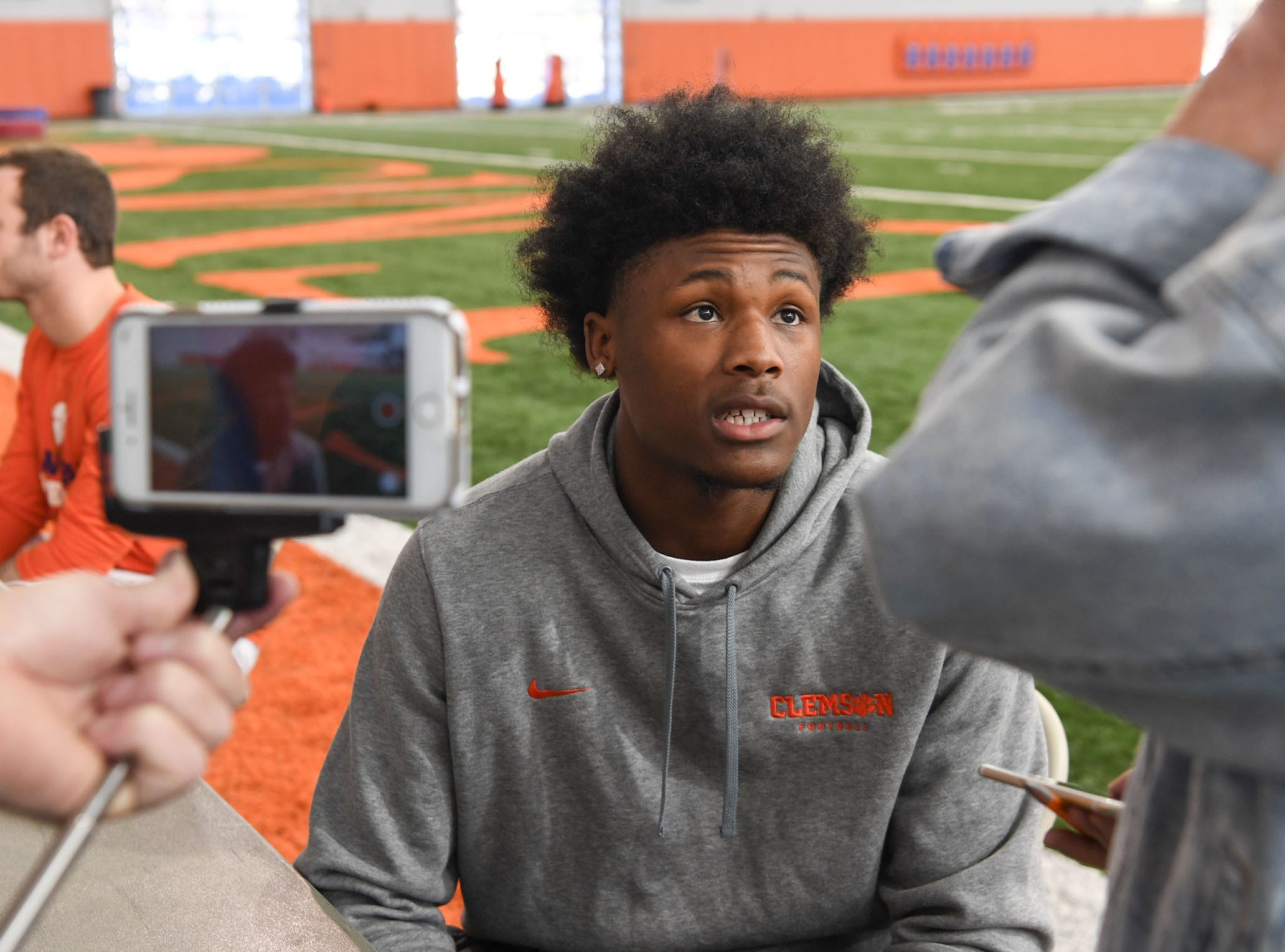 Clemson wide receiver Tee Higgins is interviewed during Media Day at the Poe Indoor Facility in Clemson on Tuesday.