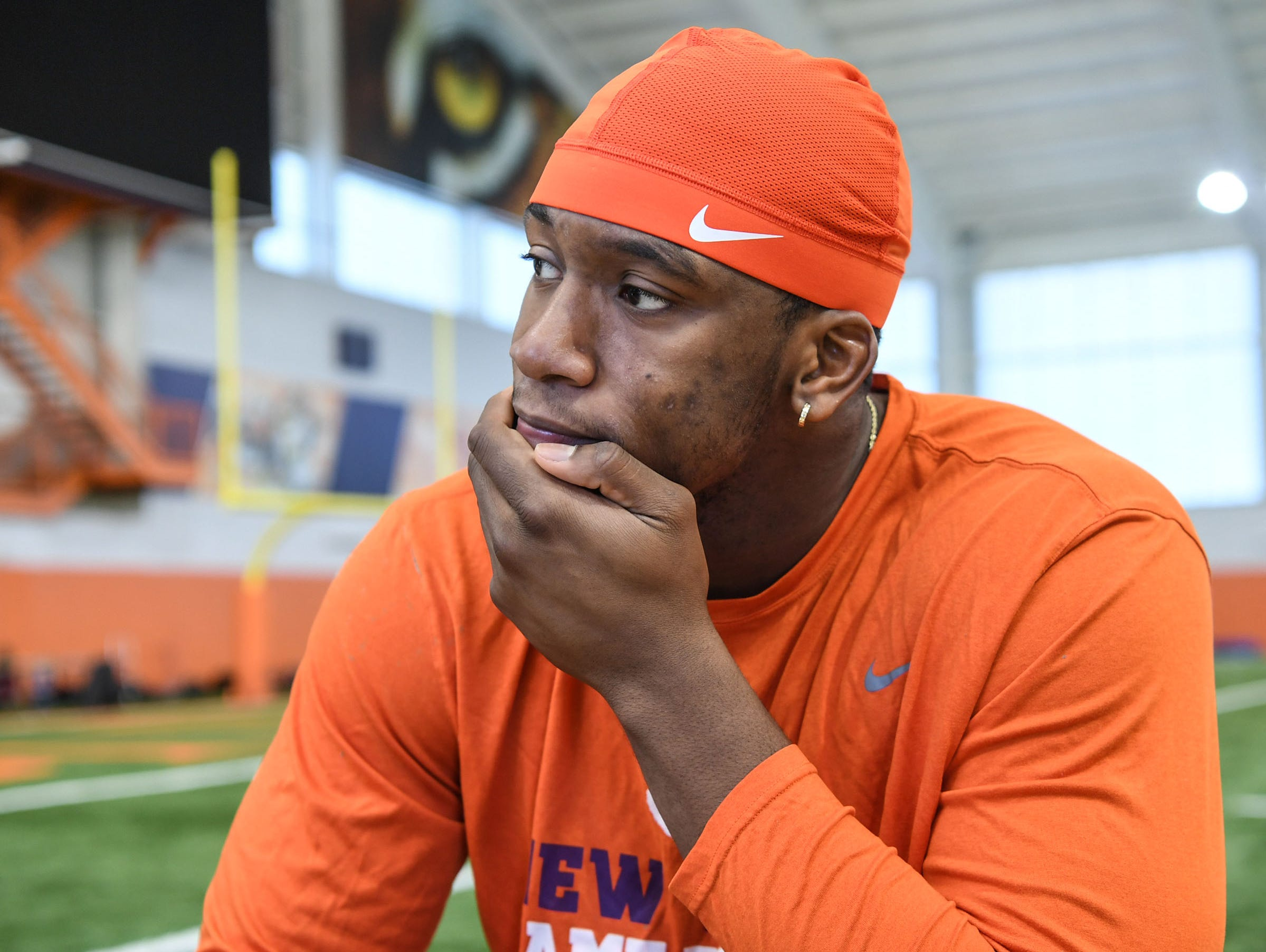 Clemson defensive lineman Clelin Ferrell is interviewed during Media Day at the Poe Indoor Facility in Clemson on Tuesday.