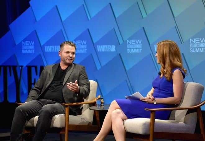 Bird founder and CEO Travis VanderZanden, left, talks with CNBC reporter  Julia Boorstin during the Vanity Fair New Establishment Summit in Beverly Hills, California in October.