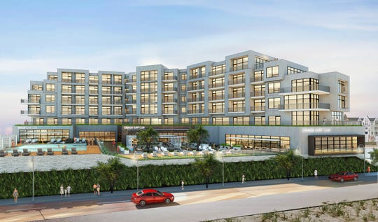 A rendering of Kushner Cos.' Onada Surf Club, a 102-room hotel proposed for the Long Branch beachfront next to Pier Village.