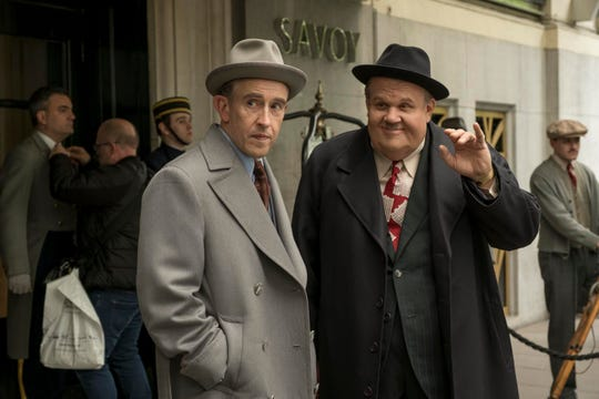 "Steve Coogan as Stan Laurel, left, and John C. Reilly as Oliver Hardy in ""Stan and Ollie."""