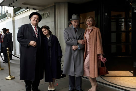 "John C. Reilly as Oliver Hardy, from left, Shirley Henderson as Lucille Hardy, Steve Coogan as Stan Laurel and Nina Arianda as Ida Laurel in ""Stan and Ollie."""