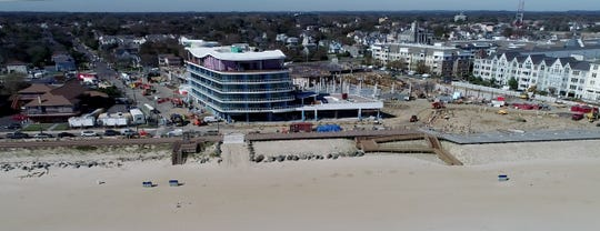 A drone image of the Wave Resort at Pier Village under construction on October 19, 2018.
