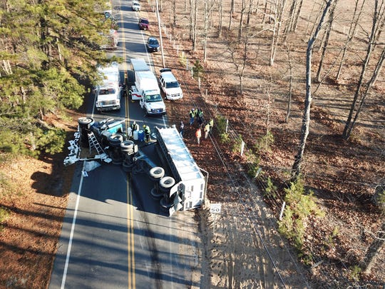 A wider view of Tuesday morning's tractor-trailer crash on Pasadena Road in Manchester.