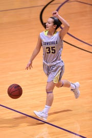 HSU point guard Maria Fernandez (35) calls out a play against Texas-Dallas at the Mabee Complex in Abilene on Tuesday, Dec. 18, 2018. The Cowgirls will now be off until Jan. 3 at LeTourneau.