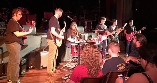 Some of Nate Gross' music students perform as part of the Chenango Blues Association's summer concert series in Norwich.