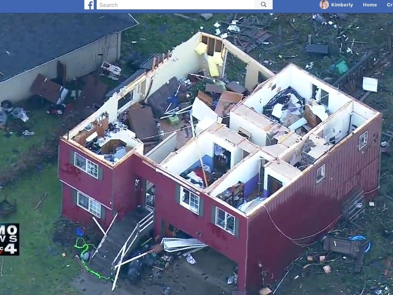 A home in the Tiburon neighborhood in Port Orchard has no roof following a tornado that ripped through Port Orchard just before 2 p.m., according to this news footage gathered by KOMO.