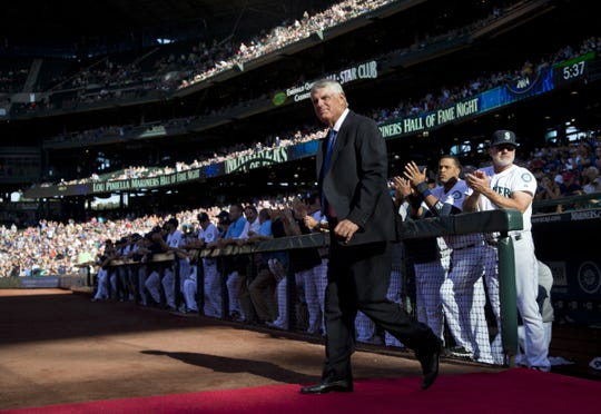 Lou Piniella was inducted into the Mariners Hall of Fame in 2014. He fell one vote short of being inducted into the baseball hall last week.