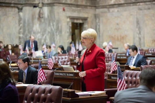 Sen. Jan Angel, R-Port Orchard, has the floor as the Washington State Senate convenes for floor session on Feb. 25, 2015. Angel retired at the end of the 2018 session.