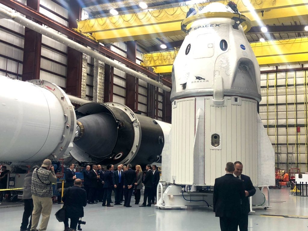 Vice President Mike Pence and Air Force Secretary Heather Wilson on Tuesday toured SpaceX's hangar at Kennedy Space Center's Launch Complex 39A, seeing the company's first Crew Dragon capsule, which is slated to fly an uncrewed test flight to the International Space Station as soon as mid-January under NASA's Commercial Crew Program.