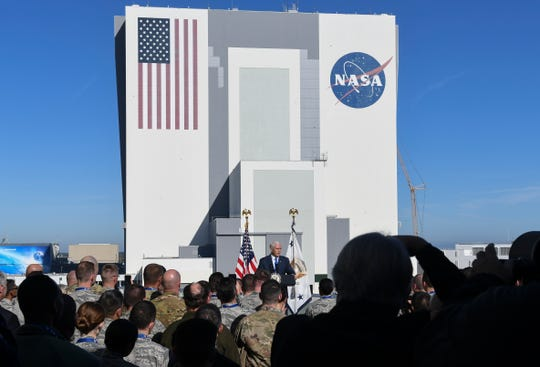 U.S. Vice President Mike Pence addresses Air Force personnel at NASA's Kennedy Space Center on Tuesday, Dec. 18, 2018.  Pence announced the creation of a US. military unified command for space.