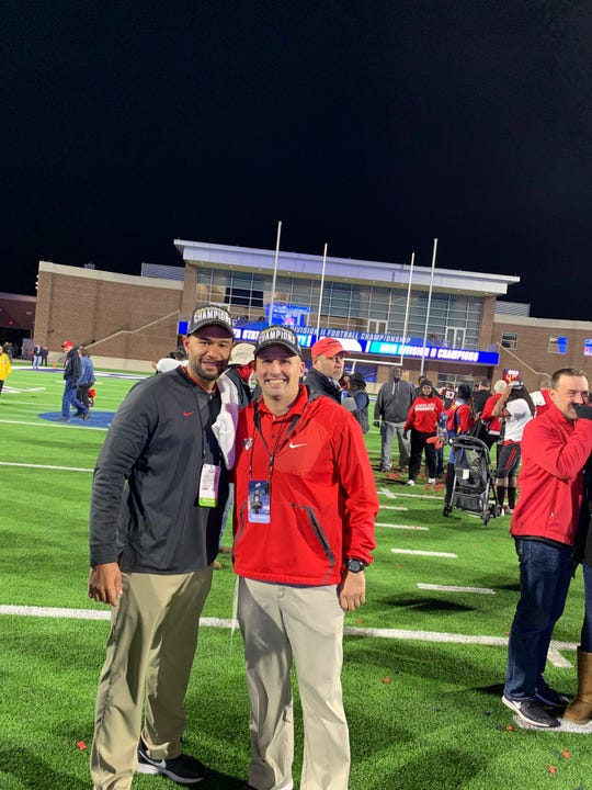 David Lowe (left) of Cocoa and Merritt Island's Danny Verpaele were assistant coaches for Valdosta State's Division II national football championship team.