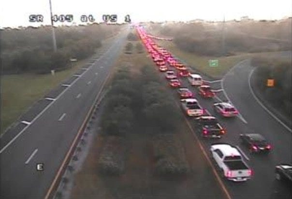 Traffic cameras show lines of traffic building on S.R. 405 heading toward Kennedy Space Center.