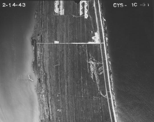 Aerial photos from the 1940s and 1950s show areas cleared out near Patrick Air Force Base. Residents suspect a cleared out area southeast of the base was used as a landfill for military waste, which military officials have denied for years.