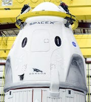 A SpaceX Crew Dragon capsule seen in its Kennedy Space Center hangar prior to flying the uncrewed Demo-1 mission in early March. Credit: Craig Bailey/FLORIDA TODAY via USA TODAY NETWORK