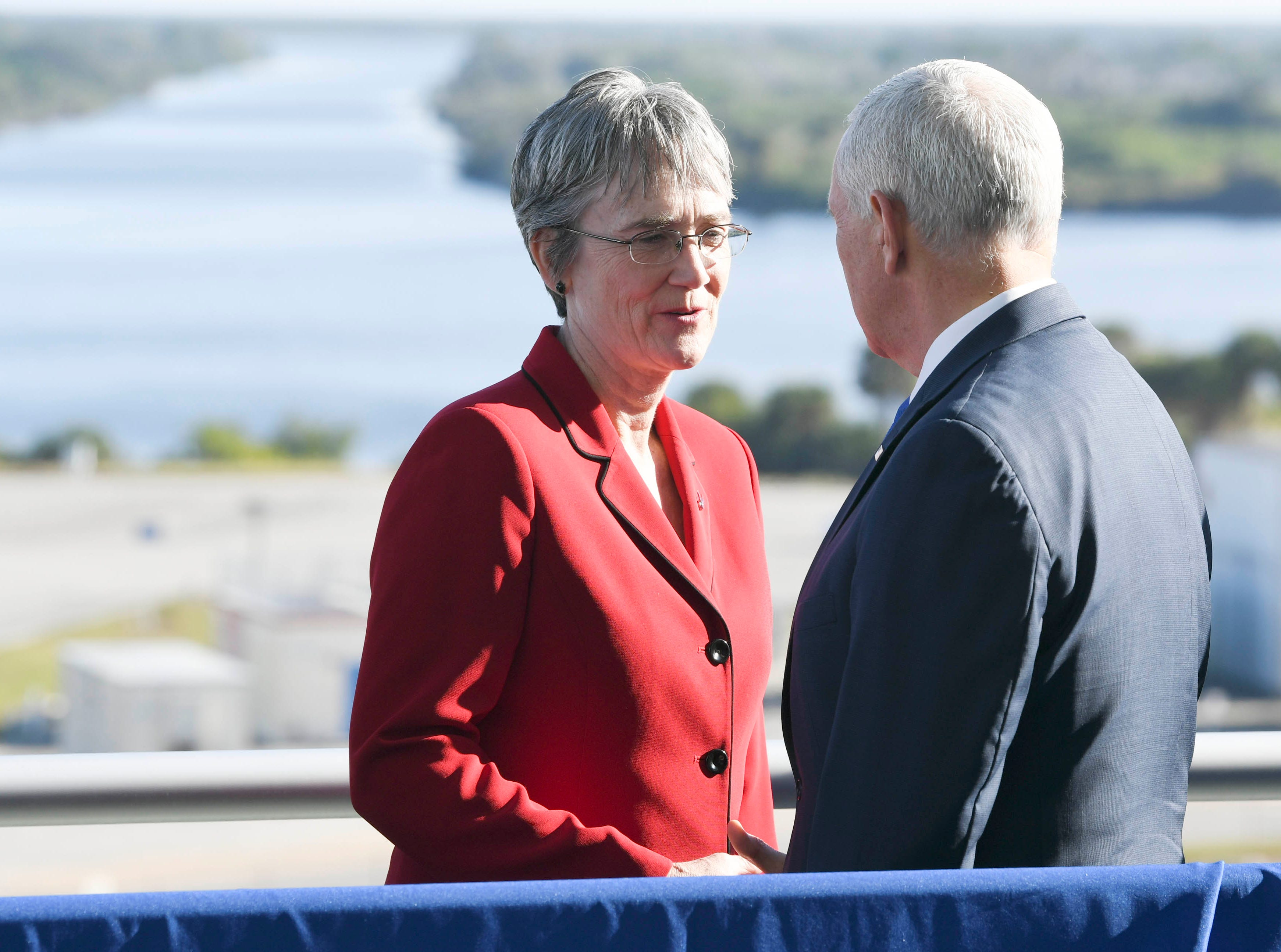 U.S. Vice President Mike Pence speaks with Secretary of the Air Force Heather Wilson at Kennedy Space Center, Tuesday, December 18, 2018.  Pence today announced the creation of a US military unified command for space.Mandatory Credit: Craig Bailey/FLORIDA TODAY via USA TODAY NETWORK