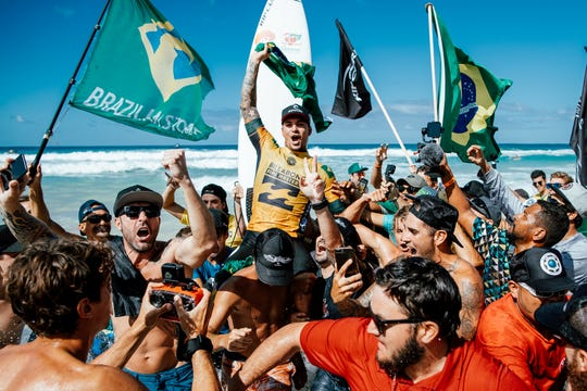 Gabriel Medina of Brazil won the world title in Heat 1 of the Semifinals at the Billabong Pipe Masters at Pipeline, Oahu, Hawaii.