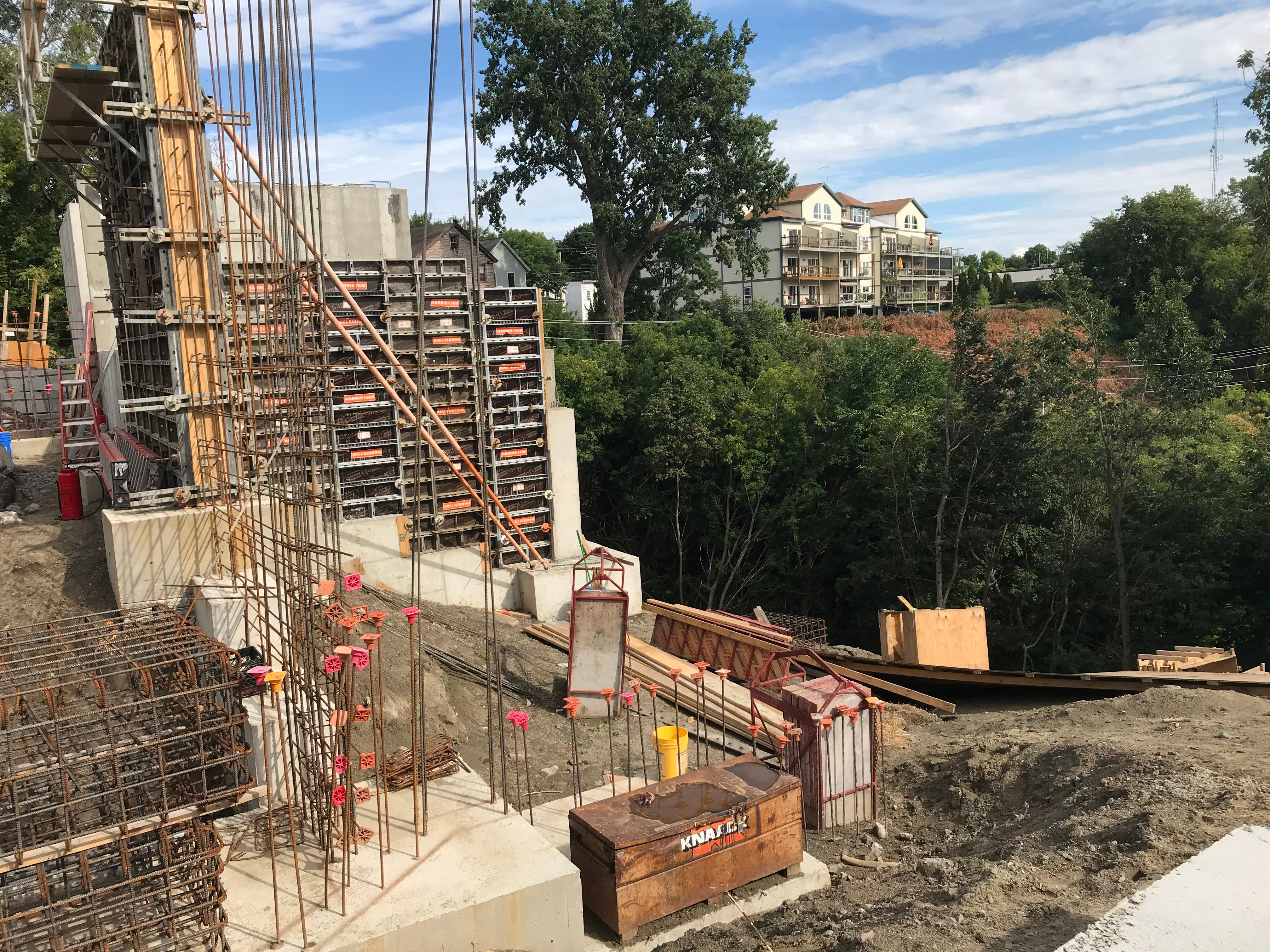 "Concrete walls are built at the ""One Lakeview"" apartments near the junction of North Avenue and North Street in Burlington on Sept. 6, 2018."