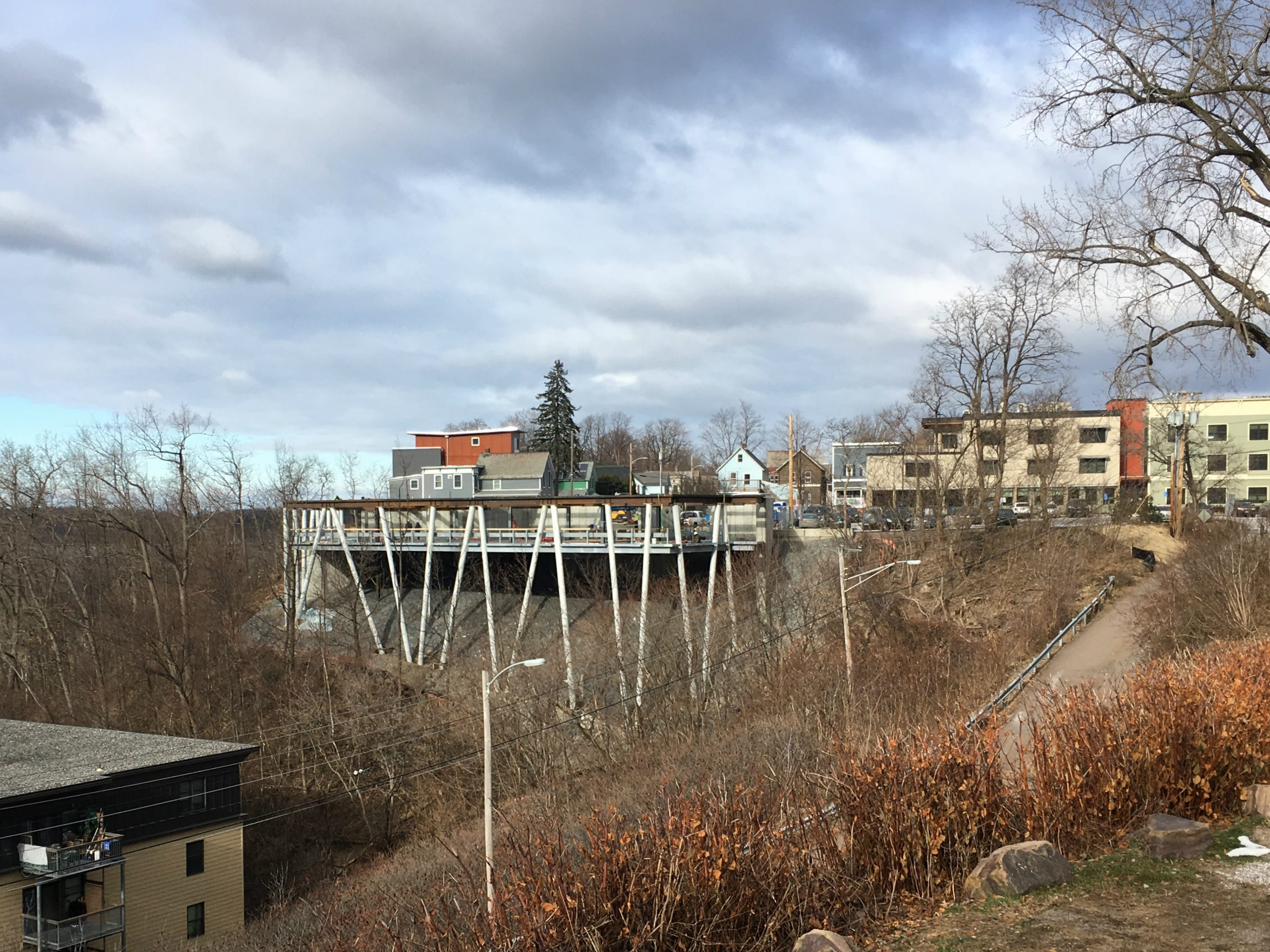 """The """"ground-level"""" parking deck is under construction above Depot Street, and the Burlington waterfront on Dec. 18, 2018."""